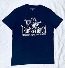 Mens Brand New True Religion Stylish Cotton Crew Neck Top T Shirt Blue Size XL