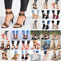 Women's Wedge Block Heel Sandals Peep Toe Summer Casual Ankle Strap Shoes Sizes