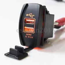 12V/24V Car Truck Boat Orange LED Backlit 2 USB Charger 5V 3.1A Rocker Switch B