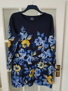 Joules Navy Floral Print Tunic Dress  with Pockets Size 16