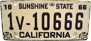 AMERICAN STYLE TIN NUMBER PLATE - CALIFORNIA SUNSHINE STATE 66 NP04