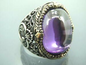 Turkish Handmade Jewelry 925 Sterling Silver Amethyst Stone Men Ring Sz 9