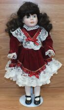 "Genuine Dynasty Doll Collection - 18"" Porcelain Doll With Red Dress & Stand!"