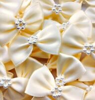 Pack of 10 - IVORY 3.5cm Satin Ready Made Mini Ribbon and Pearl Craft Bows