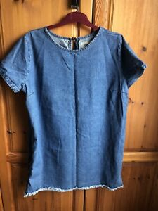 Denim & Co Denim Tunic Laced Detail To Sides UK 20