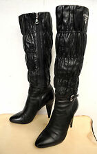 PRADA Black Ruched Leather Knee-High Boots Heels Sz 38 Italy Authentic RRP $1600