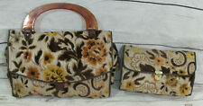 Vintage Tapestry Carpet Tote Bag Handbag + Matching Cosmetic Bag Retro