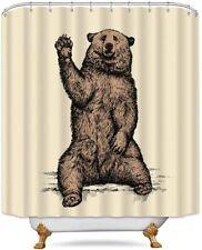 Cute Brown Bear Forest Cabin Nature Farmhouse Rustic Fabric Shower Curtain