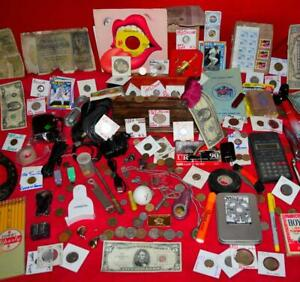 JUNK DRAWER COLLECTION ROLLING STONES HAPPY RECORD ANTIQUE SILVER COINS GOLD LOT