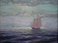 """Charles A. Watson (American,1857-1923) Original Oil Painting c.1880's """"Seascape"""""""