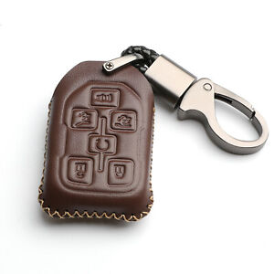 Brown Leather For GMC Yukon XL Chevrolet Tahoe 6 Buttons Key Fob Cover Case