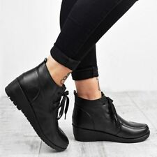 Womens Low Wedge Heel Black Ankle Boots Lace Up Work Office School