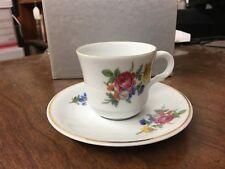 Jaeger Demitasse Cup & Saucer Roses & Flowers Gold Trim
