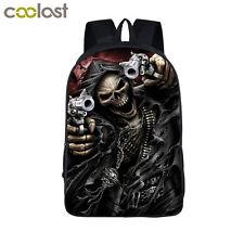 Cool Skull Grim Reaper Gun Wield Printed Sport Laptop Travel Backpack for Teens
