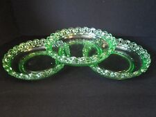 Set 3 Depression Green Glass Open Loop Lace Round Bowls Fostoria Josef Inwald