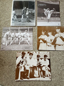 HALL OF FAME BASEBALL PLAYER PRINTS LOT OF 5 WILLIAMS GEHRIG RUTH MANTLE