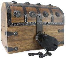 Wellpackbox Wooden Pirate Treasure Chest Box W/ Antique Style Lock Skeleton NEW