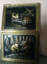 Two Metal Wall Plaques of Early Cars De Dion Boutin 1903 and Spyker Tourer 1904
