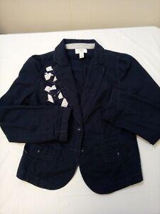 Ann Taylor Loft Womens Blazer Petites 6P Blue 2 Button Blue Cotton Jacket