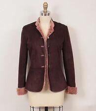 Emanuel Ungaro Dark Brown Suede with Mauve Pink Shearling Jacket Coat XS 36 0/2