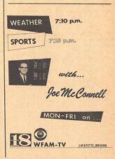 1964 WFAM TV NEWS AD~JOE McCONNELL~LAFAYETTE,INDIANA~CBS CHANNEL 18