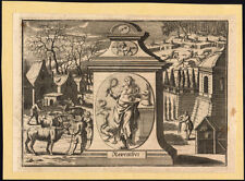 Antique Print-November-Month-Capr icorn-Zodiac-Snake-Goose-D onkey-1730