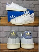 ADIDAS LADIES UK 4 EU 36 2/3 WHITE CHALK BLUE STAN SMITH W SNAKE HEEL TRAINERS