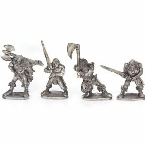 Barbarian Heroes x4 28mm Unpainted Metal Wargames