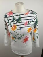 Joules White Cotton Floral Scoop Neck 3/4 Sleeve Top T-shirt Size 10