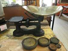 Vintage LARGE Black Cast Iron? Scale Brass Dish with Weights Numbered