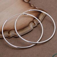 Fashion 925 Sterling Silver Round Big Large Huggie Loop Earrings Jewelry