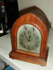 Kienzle Antique Mantel Shelf Clock Wooden Case Beveled Glass w/Key Germany