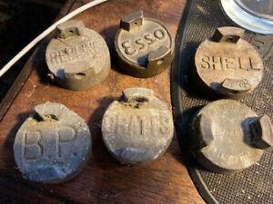 Vintage 2 gallon petrol can caps Pratts,Esso, Shell,Redline,National Benzole mix