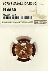 1970-S SMALL DATE LINCOLN MEMORIAL CENT PROOF NGC PF-66 RD