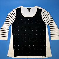 White House Black Market Womens 3/4 Sleeve Pearl Embellished Sweater Top Size L