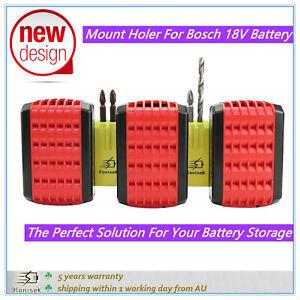 Mount Storage Holder Bracket For Bosch 18V Battery BAT609 BAT619 With 6 Screws