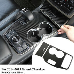 For Jeep Grand Cherokee 14-15 Real Carbon Fiber Water Cup Gear Panel Cover Trim