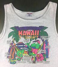 "Vintage Mens XL 80s ""The Original Hawaii T-Shirt"" Graphic Souvenir Gray Tank-Top"