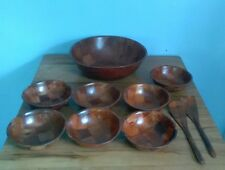 Vintage Woven Wood Salad Set Serving Bowl (7) Individual Bowls Utensils Retro