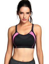 La Isla Womens Power Mesh Wirefree Cross Back X-over Contour Sports Bra 38d Black