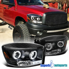 2006-2008 Dodge Ram 1500 2500 3500 Led Halo Projector Headlights Balck SpecD