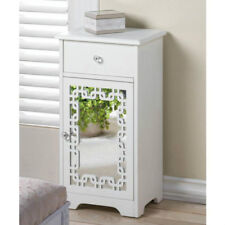 White Decorative Mirror Door Accent Side Table Cabinet With Drawer 10017873