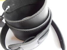 UK MADE BLACK DELUXE X/LONG FULL GRAIN LEATHER ACOUSTIC OR ELECTRIC GUITAR STRAP