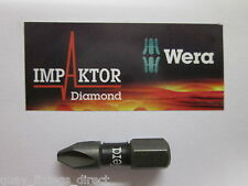 WERA IMPAKTOR 1 x Pozi PZ2 25mm Diamond Impact Screw Driver Bits Highest Quality