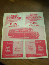 1937 New England Transportation Bus Company Schedule Brochure