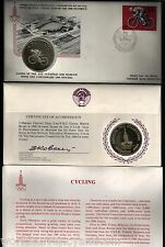 RUSSIA 1980 MOSCOW OLYMPIC CYCLING SILVER CURRENCY COIN + FDC UNC STAMPS