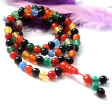 108 mix color Agate Gem Beads Tibet Buddhist Prayer Mala Necklace