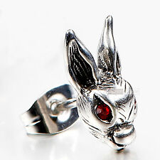 silver earring stainless steel red eye crystal rabbit SINGLE stud