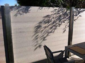 WPC Sichtschutz Zaun Windschutz mit Edelstahlpfosten , B 2m x H 1,9 m