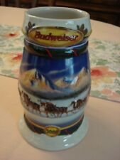 """BUDWEISER 2000 Holiday STEIN Beer MUG """"Holiday in the Mountains"""""""